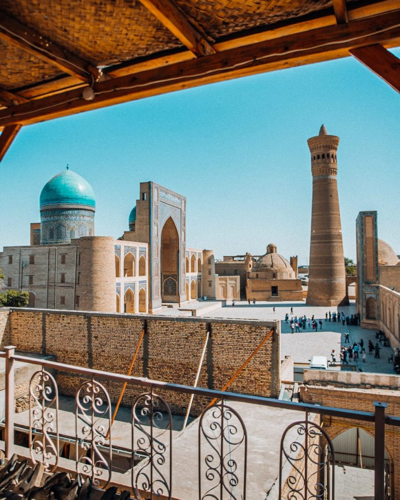kalyan minaret view from chasmai mirob restaurant in bukhara uzbekistan