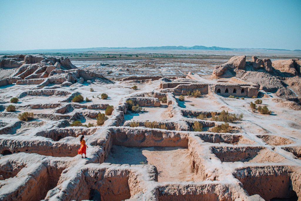ancient ruins of tupprakala fortress in desert near khiva