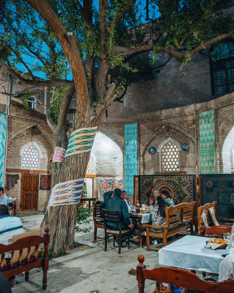 restaurant decorations in bukhara at night