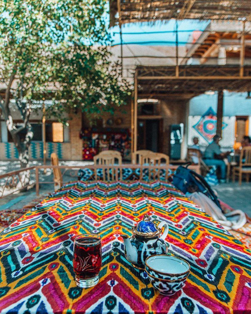 uzbek tea on colorful table in stylish khiva cafe