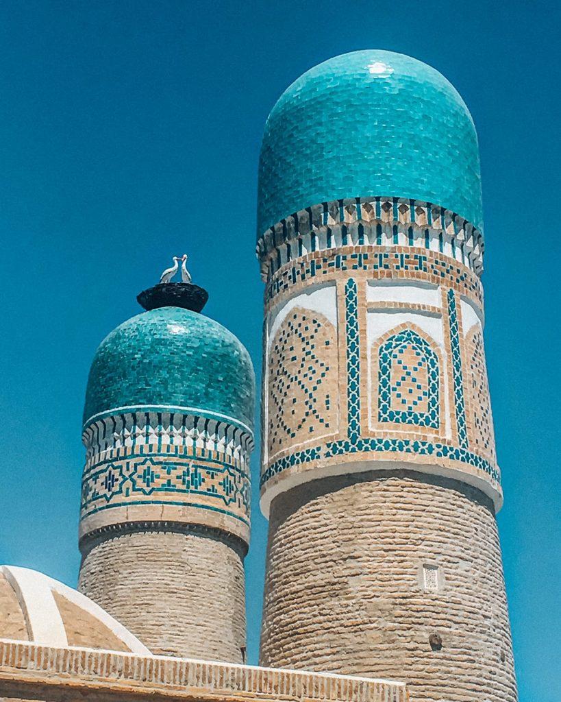 minarets of chor minor in bukhara uzbekistan