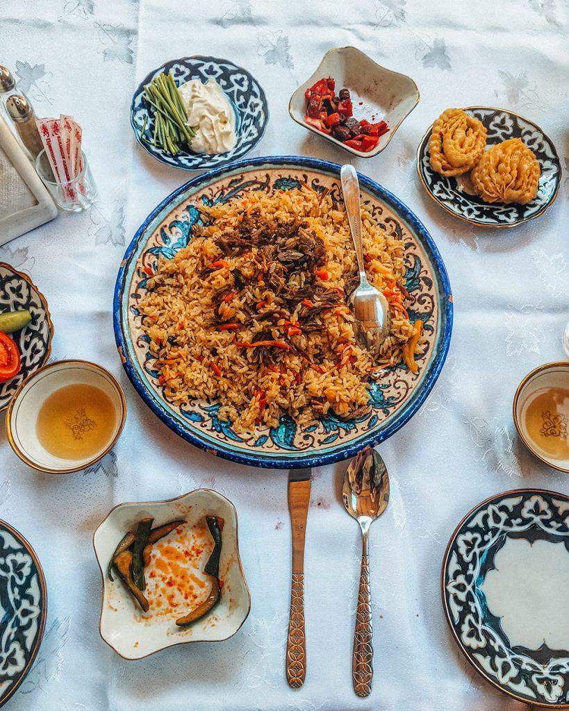 uzbek food plov on the table