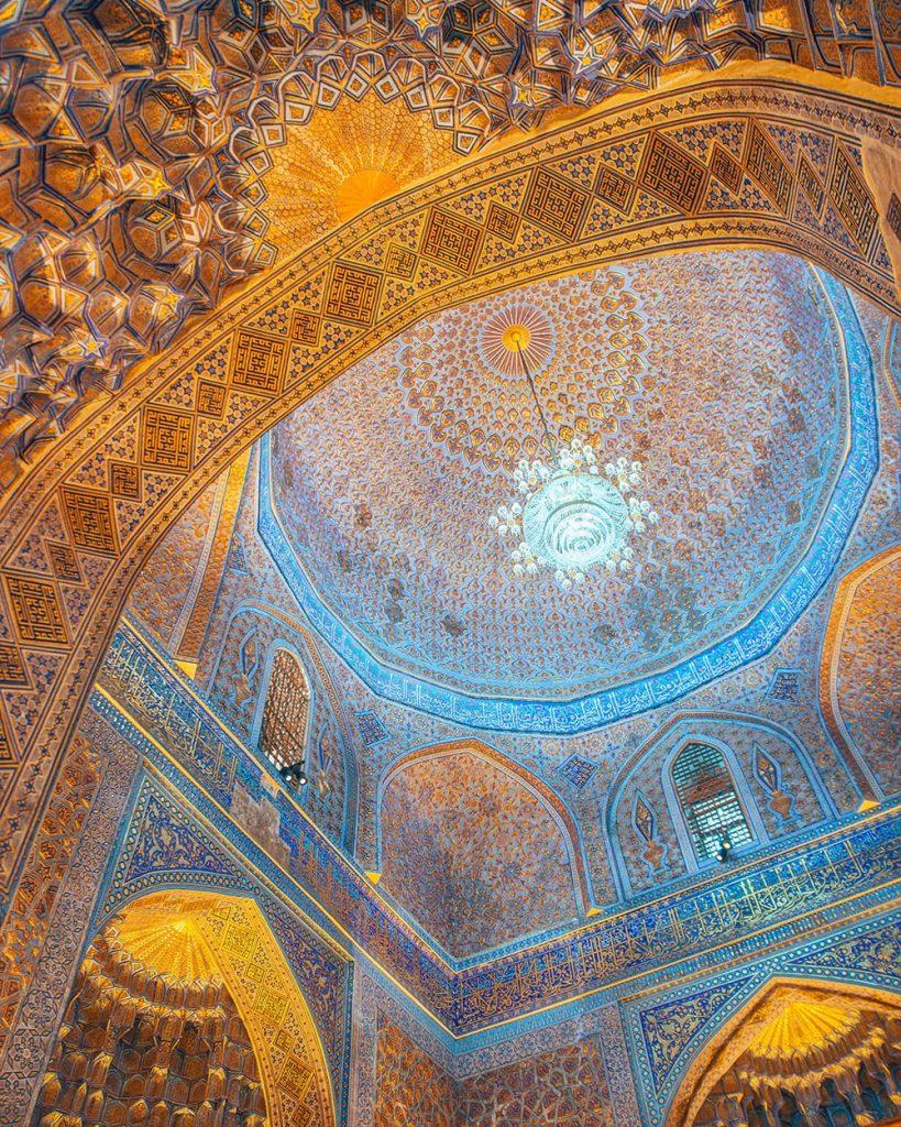 ceiling tile work of gur-e-amir mausoleum in samarkand uzbekistan