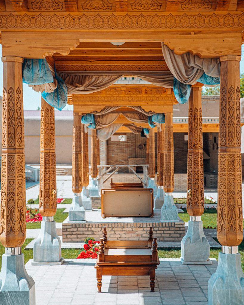 decorations of isfandiyar palace in khiva uzbekistan