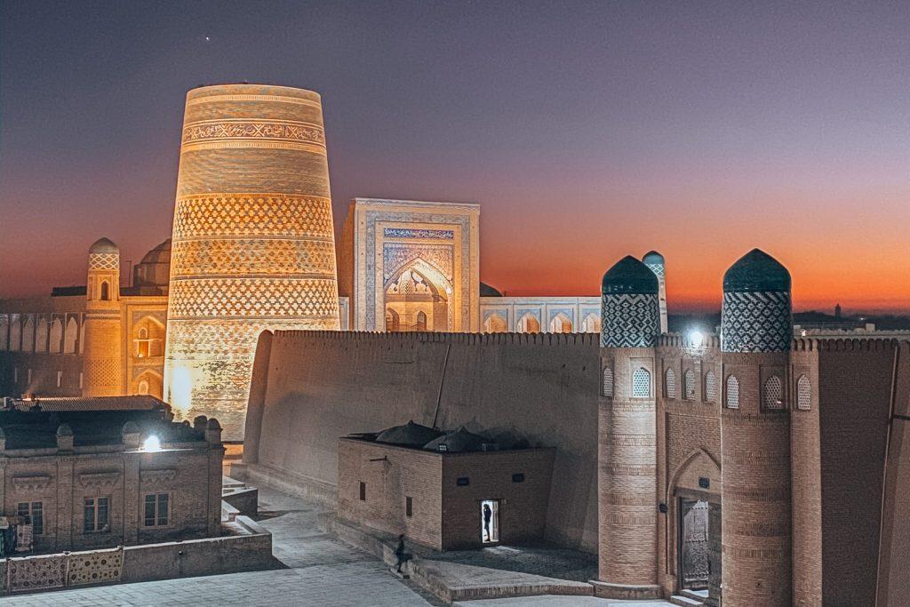 sunset from watchtower in khiva in uzbekistan