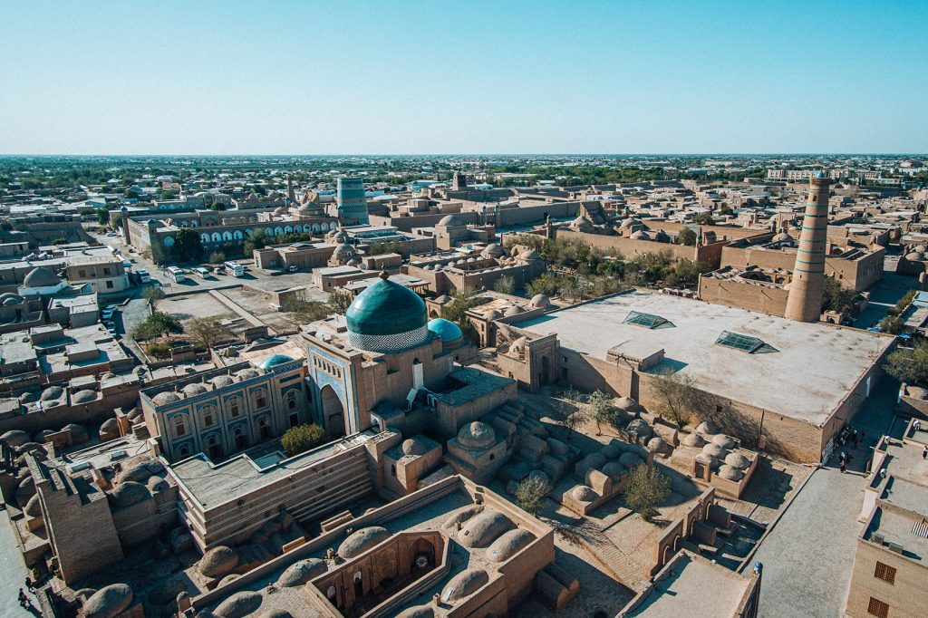 city view of khiva from the islom hoja minaret