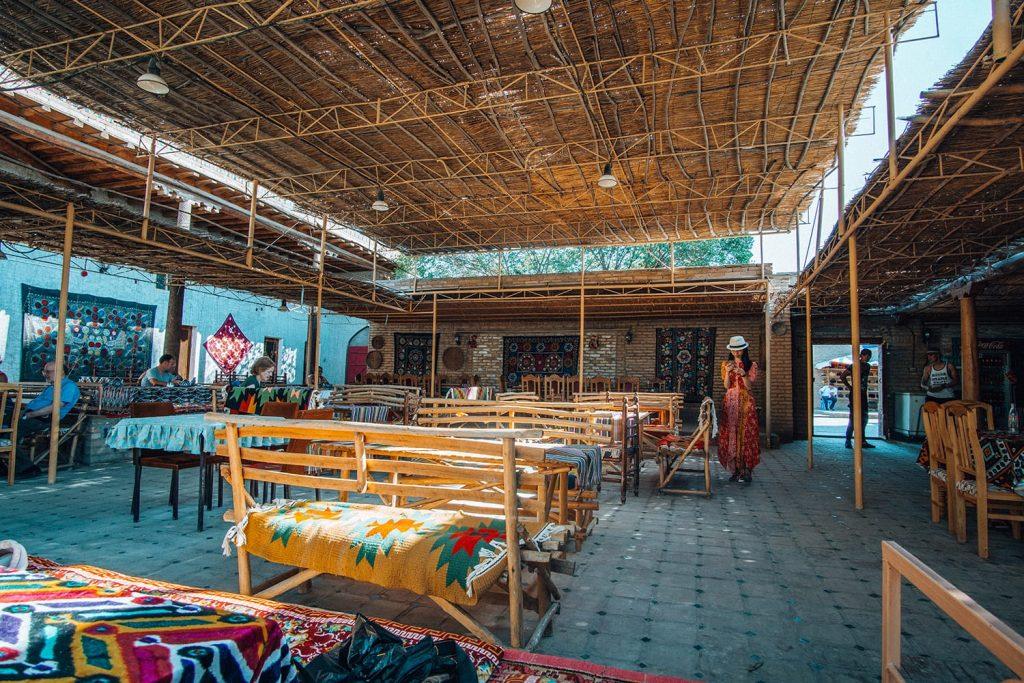 girl standing inside stylish restaurant cafe