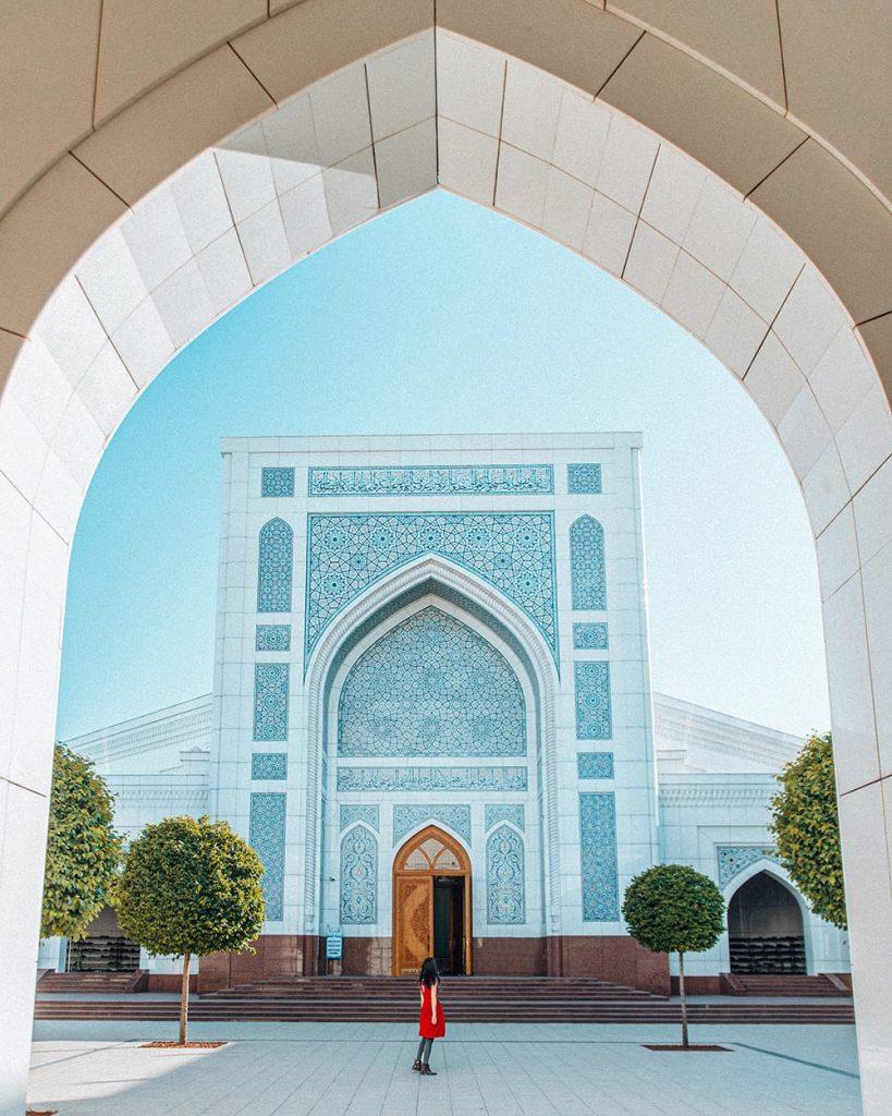 girl standing inside minor mosque tashkent uzbekistan