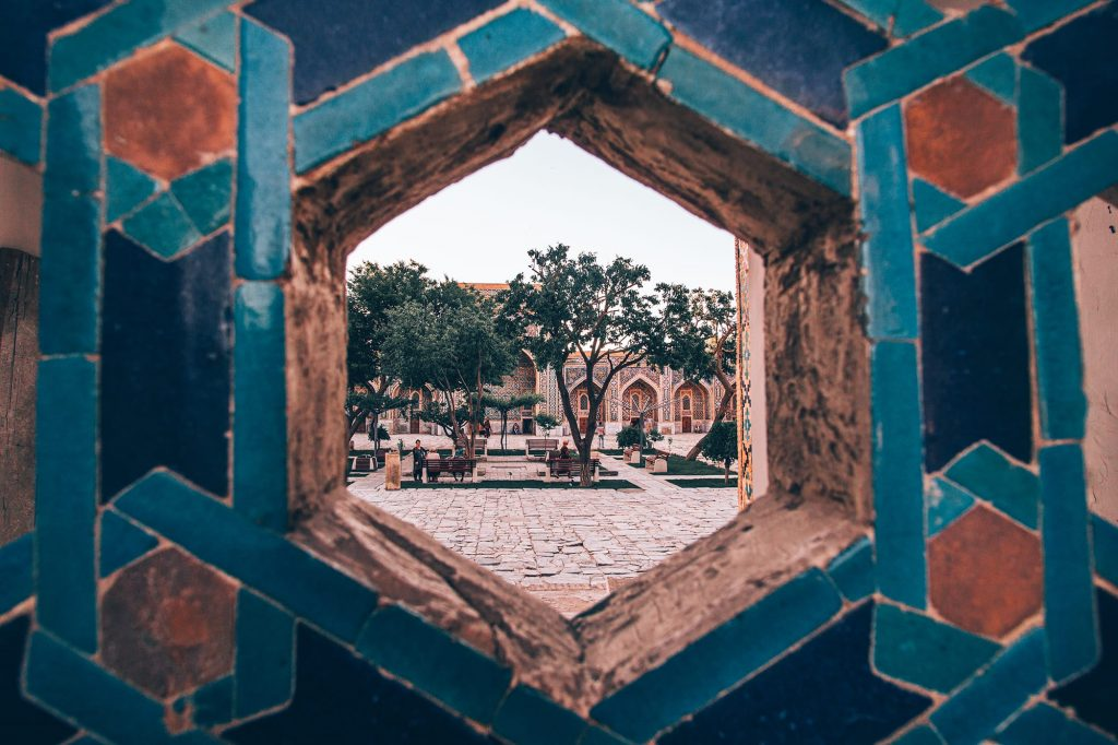tiles and architecture of registan square in samarkand