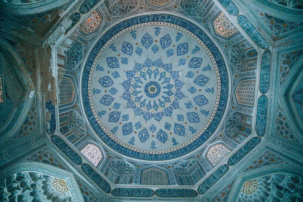 blue ceiling tile work in shah i zinda mausoleum uzbekistan
