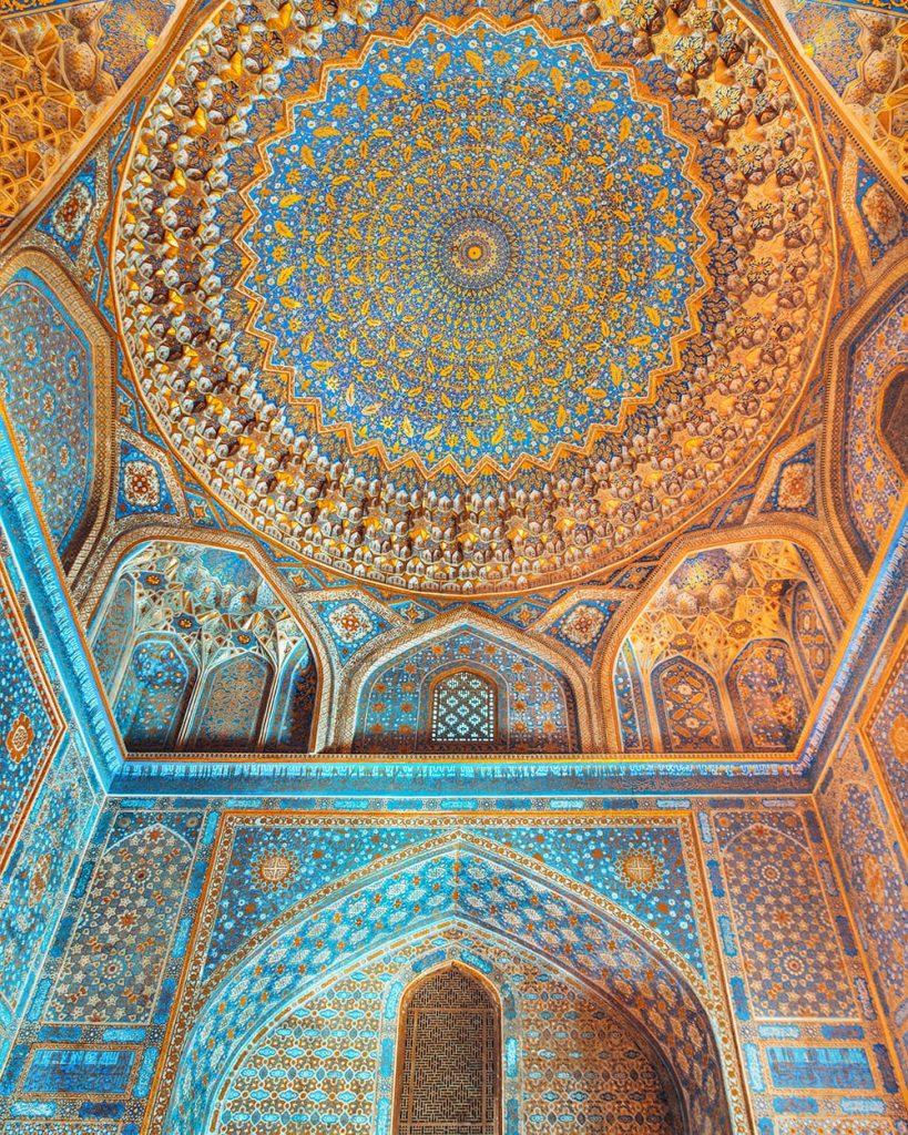 tile work ceiling in registan in samarkand