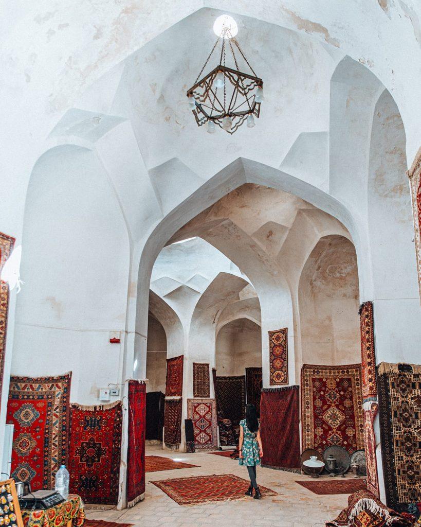 uzbekistan trading domes carpets souvenir shops