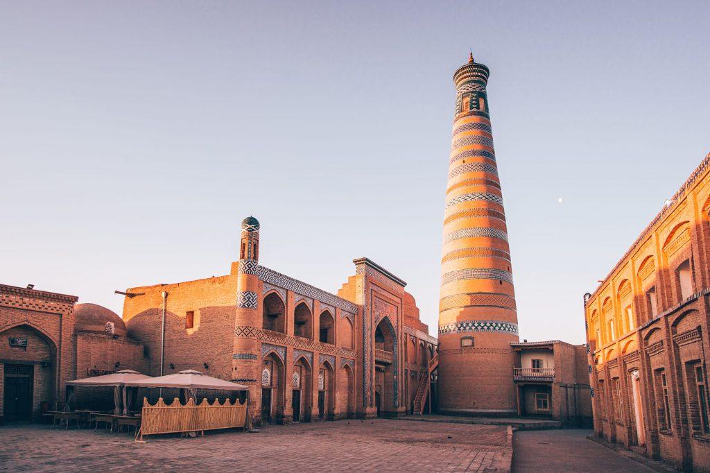 islom hoja minaret in khiva uzbekistan