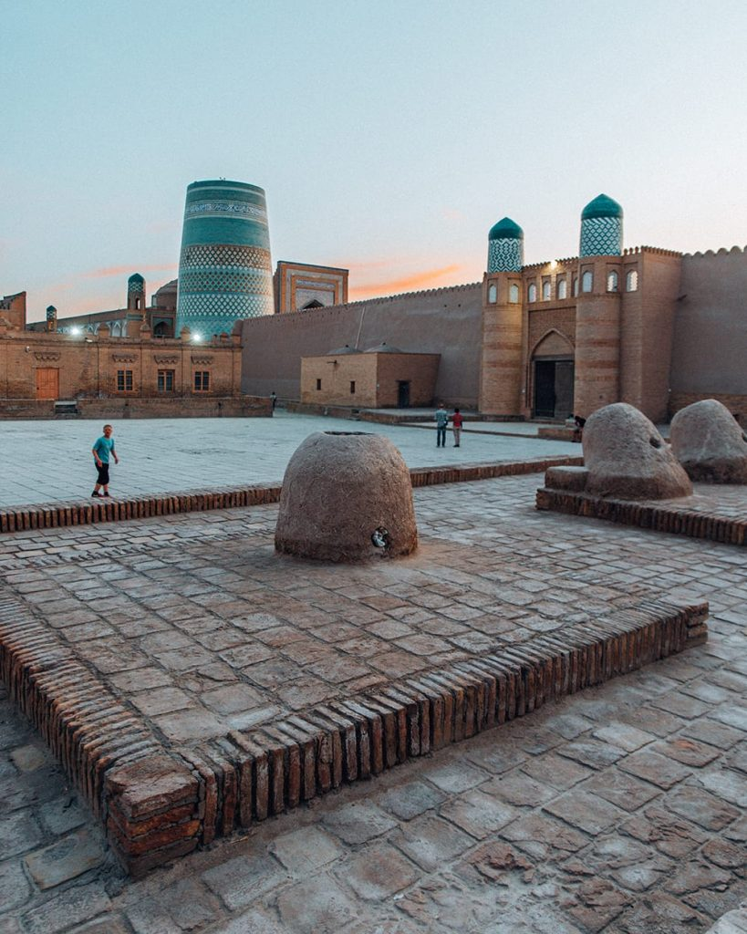 minarets and buildings in the city of khiva uzbekistan