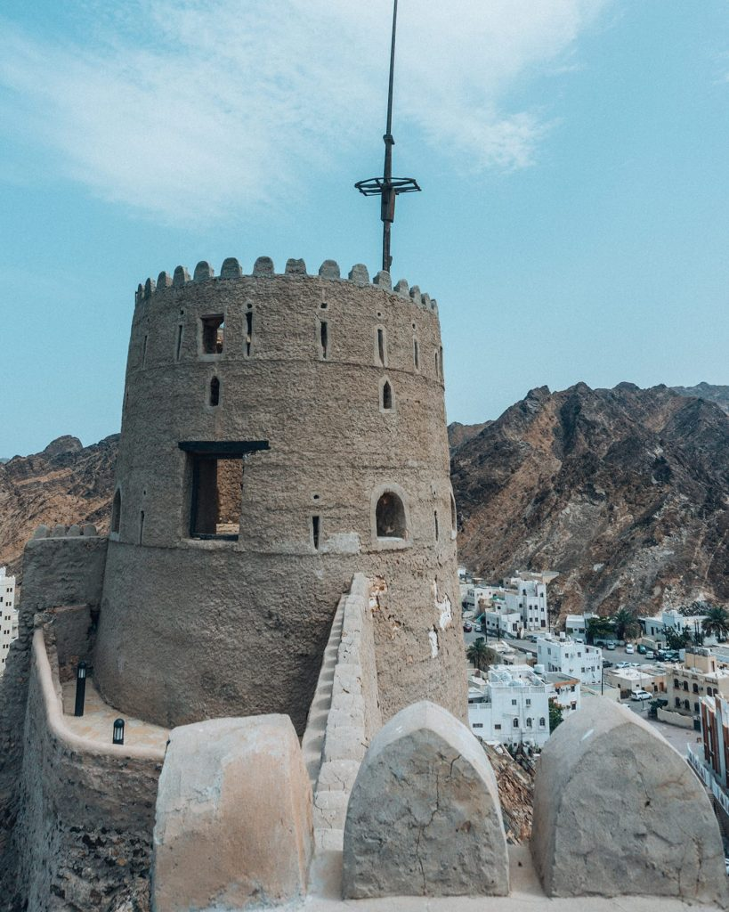 the tower of mutrah fort in muscat