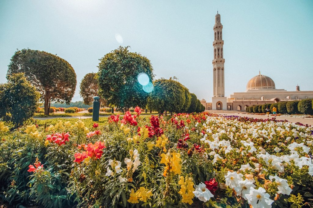 flowers at sultan qaboos grand mosque in muscat