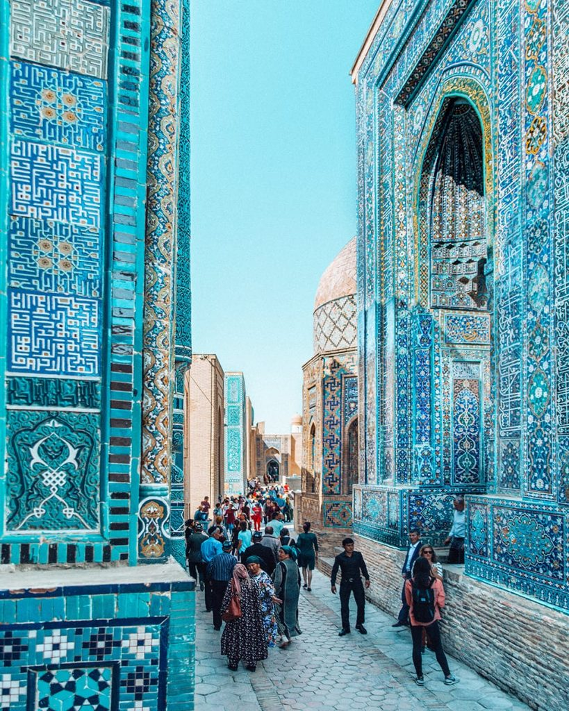 architecture and persian tile work of shah i zinda mausoleum in samarkand