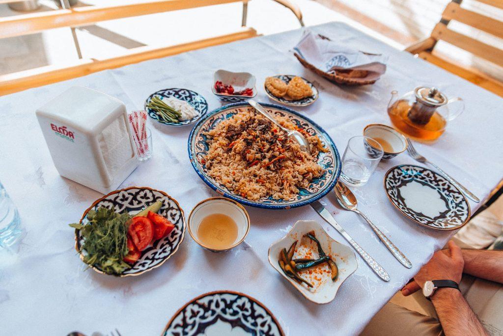 uzbek food plov on table