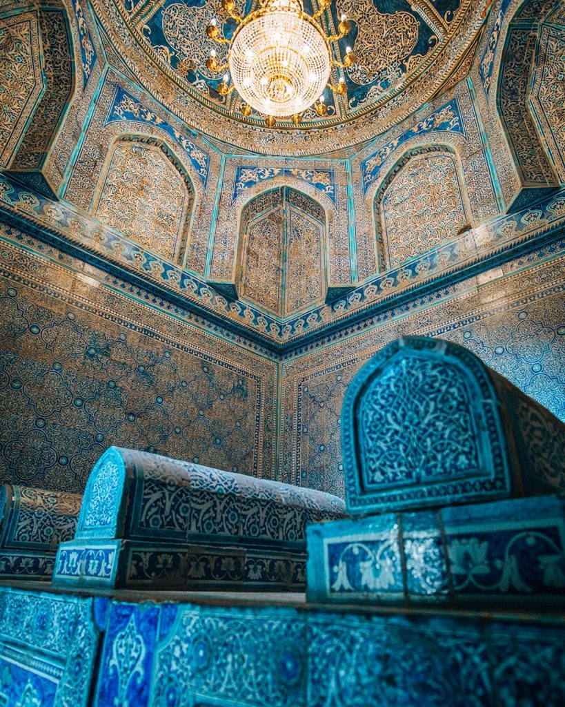 uzbekistan ceiling tile work of PAHLAVON MAHMUD MAUSOLEUM
