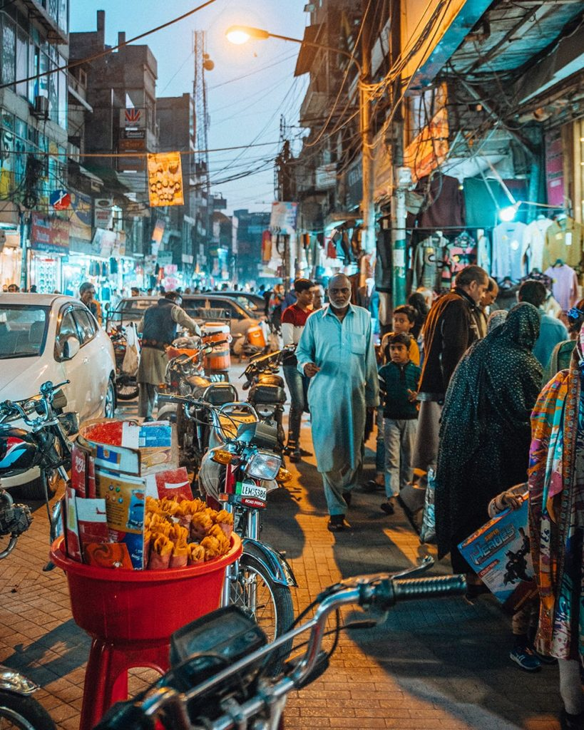 locals walking at the anarkali bazaar in lahore pakistan