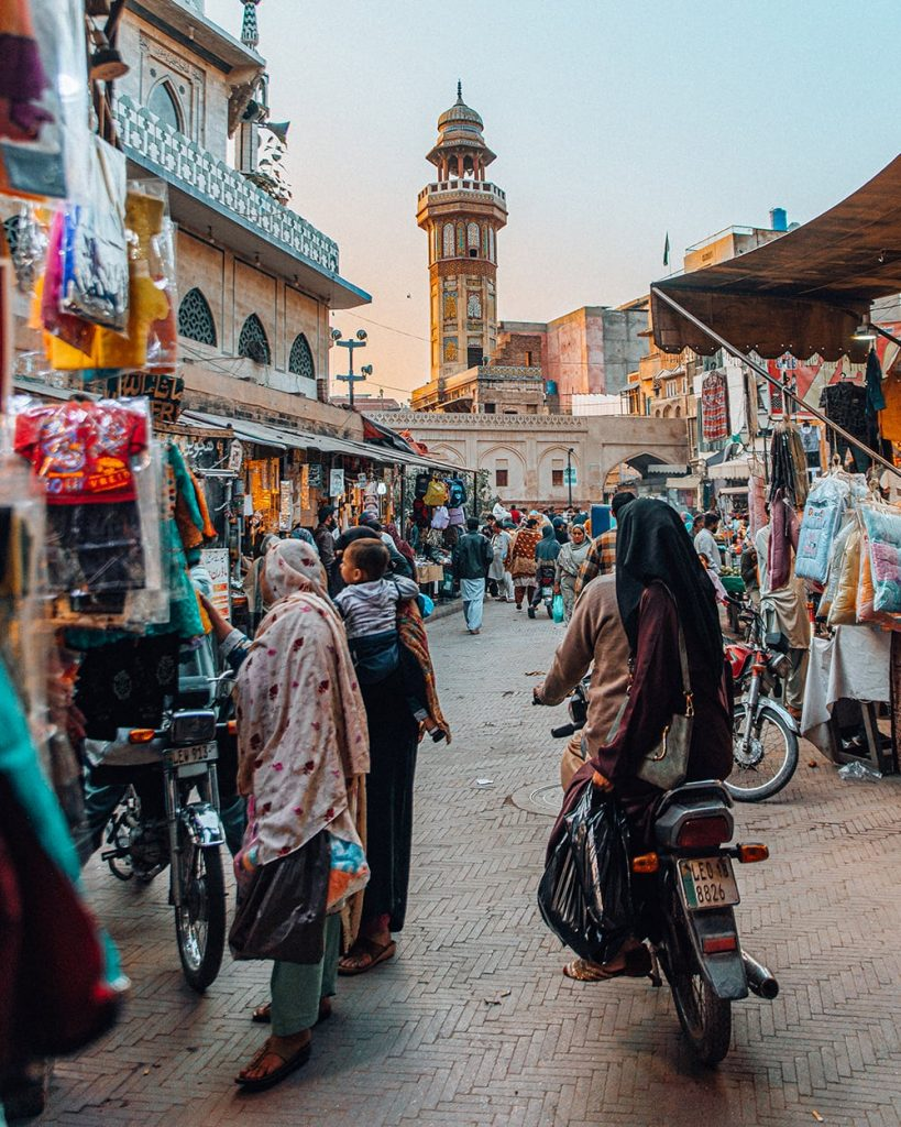 a busy market near delhi gate in lahore pakistan