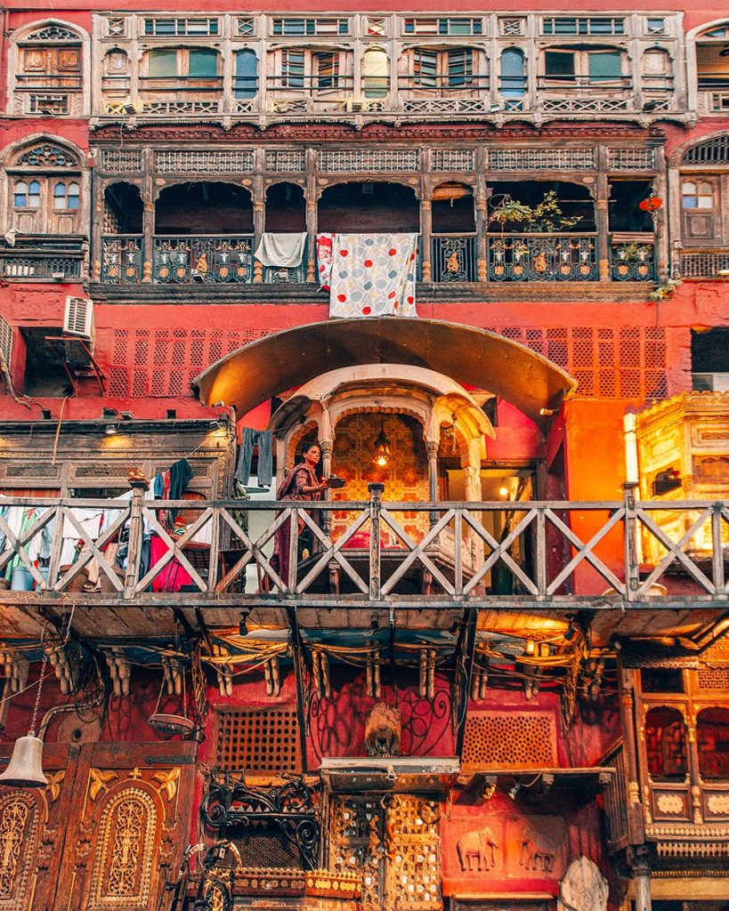 a red building in fort road food street lahore pakistan