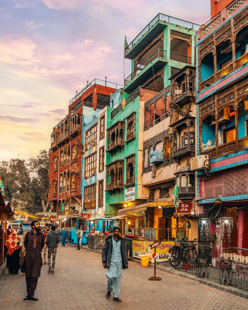 colorful buildings in fort road food street lahore pakistan