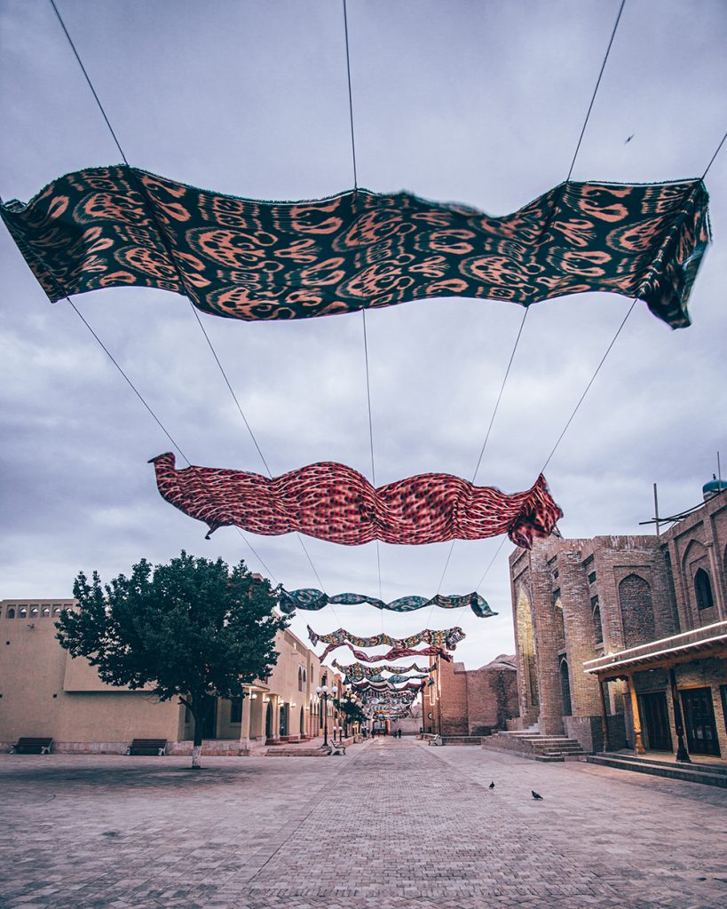 street decorations sky veil in uzbekistan