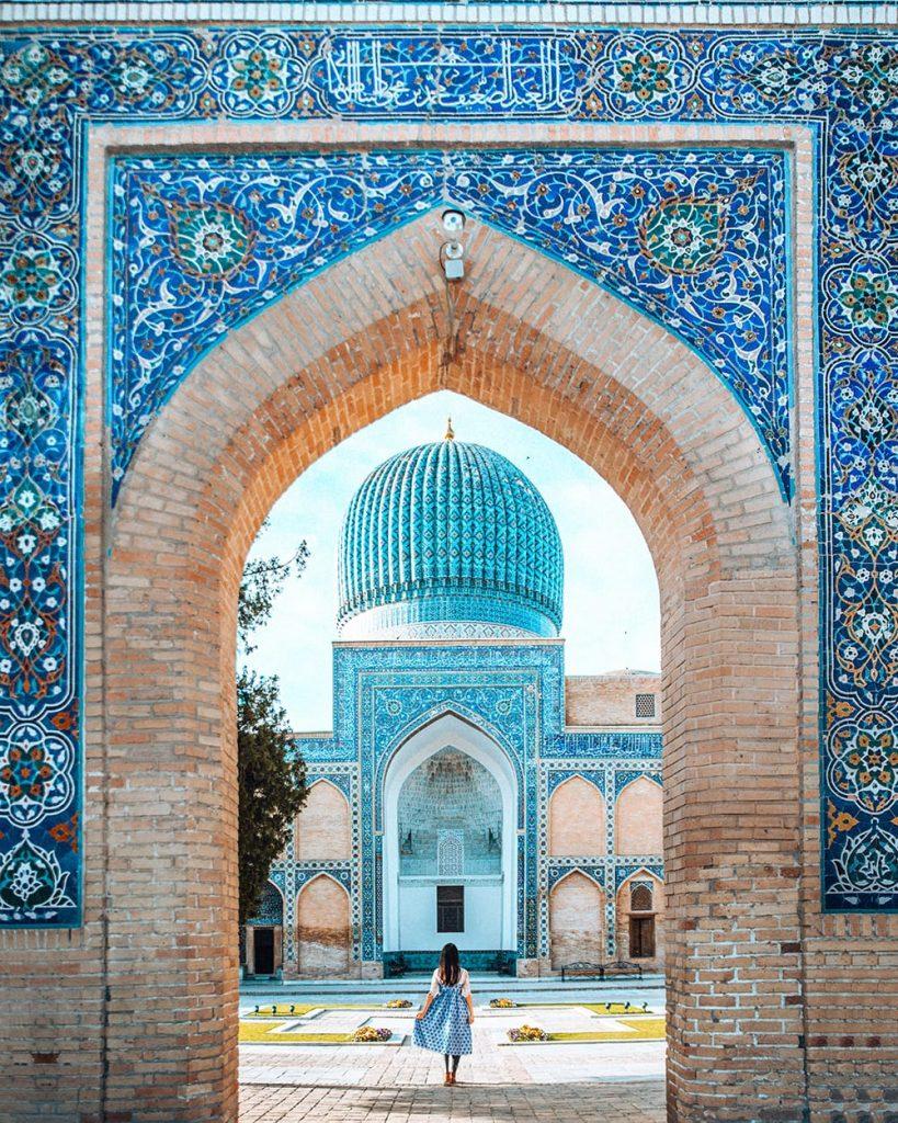 uzbekistan persian tile work of gur-e-amir mausoleum