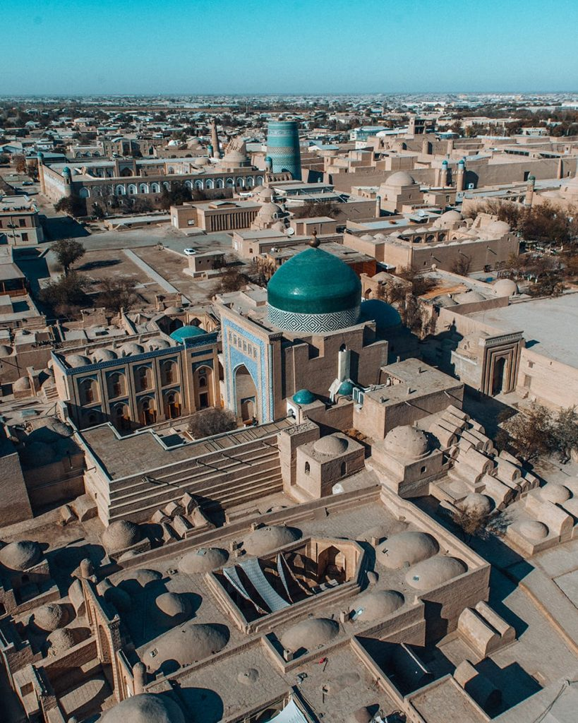 view of the city from islom hoja minaret in khiva uzbekistan
