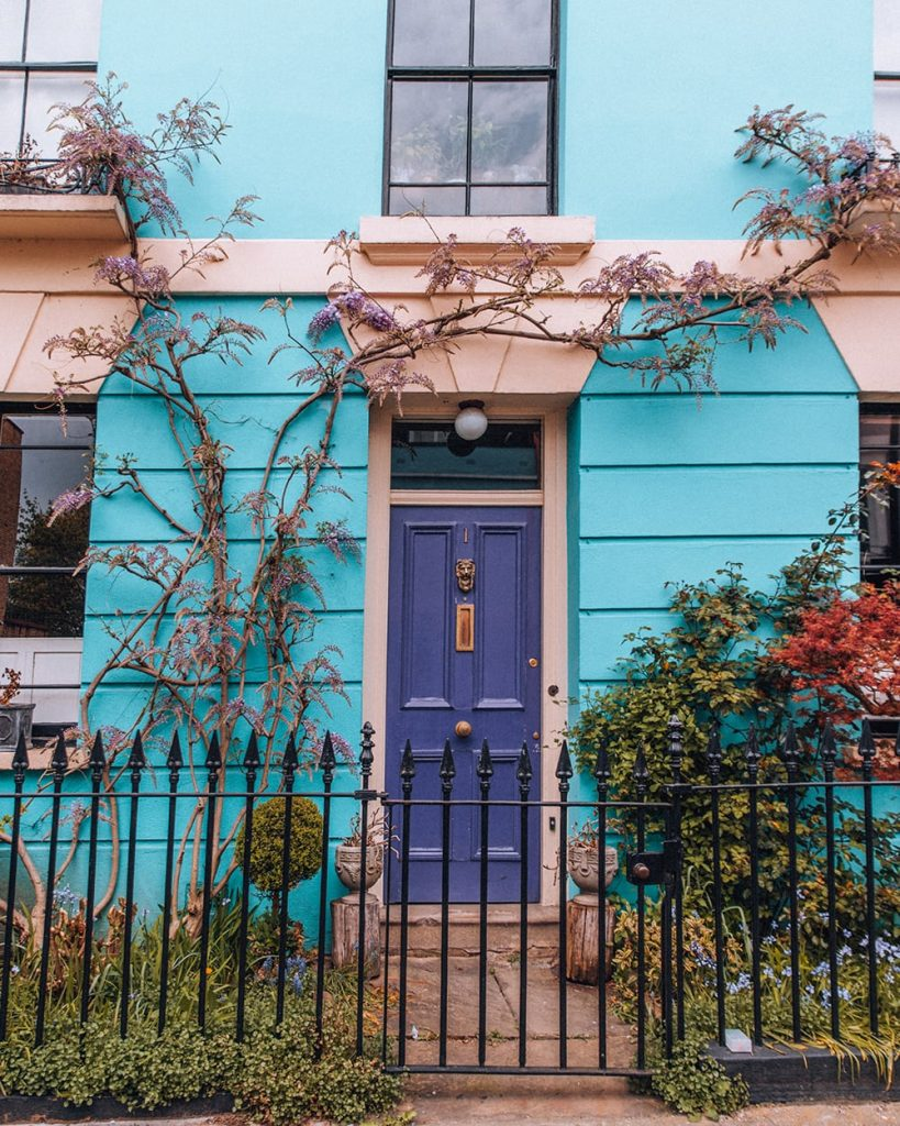 colorful houses in kentish town in the uk