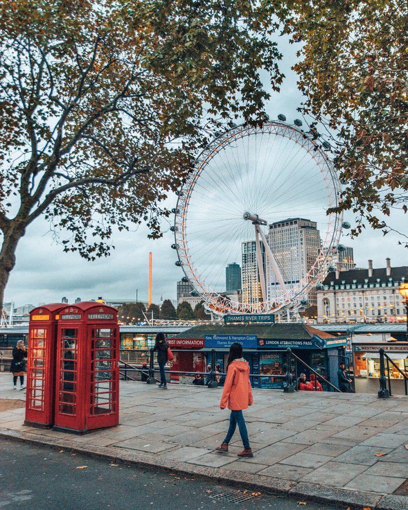 girl walking near london eye in the uk
