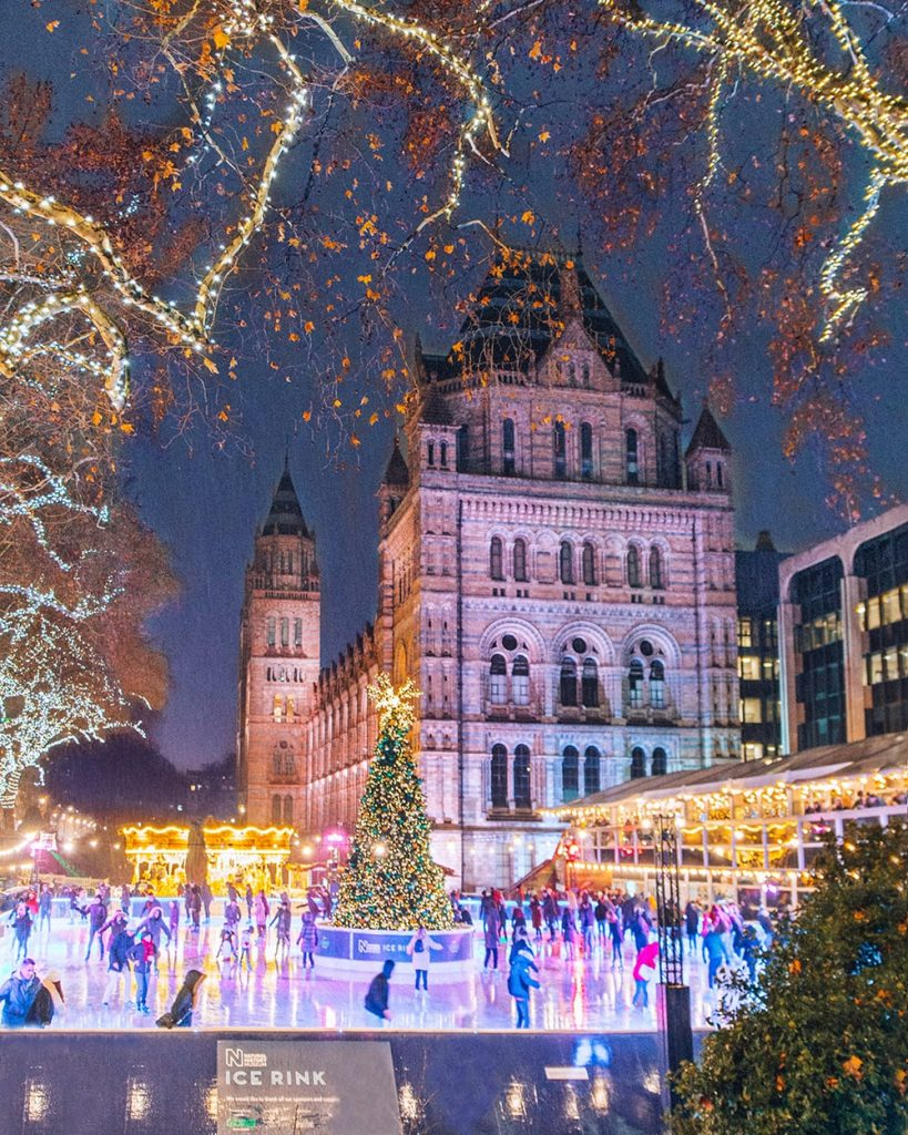 natural history museum ice rink during christmas in the uk