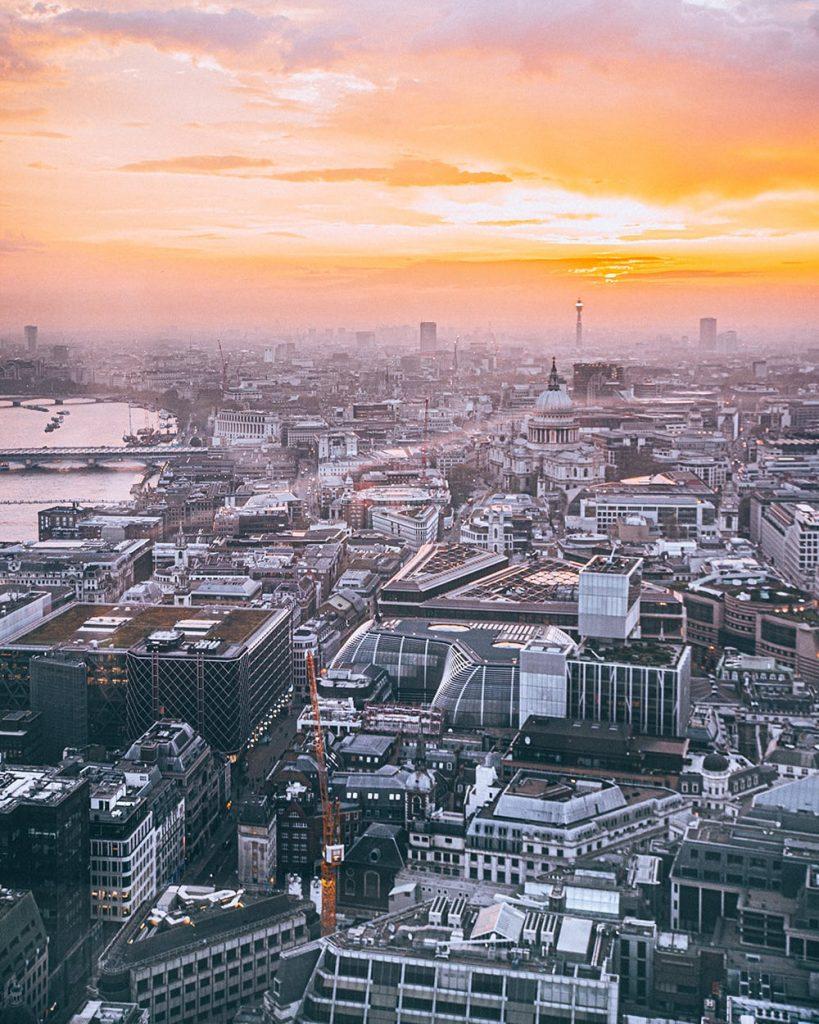 birds eye view of london during sunset at sky garden