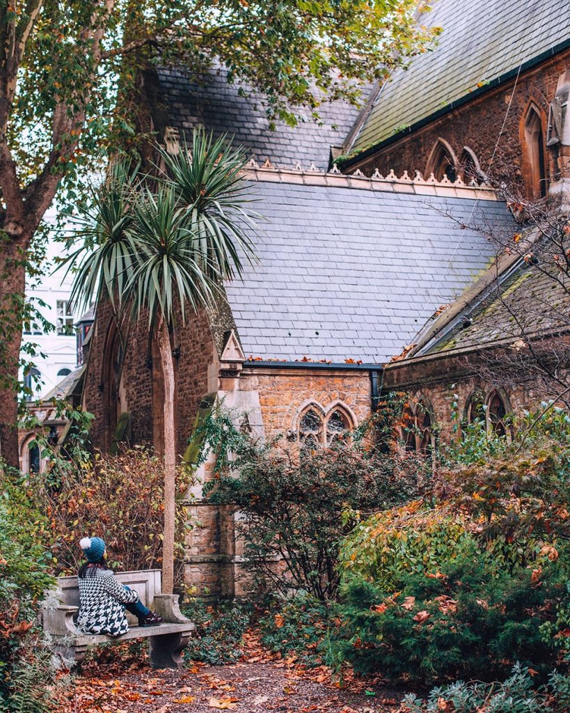 girl sitting in southwell gardens in south kensington