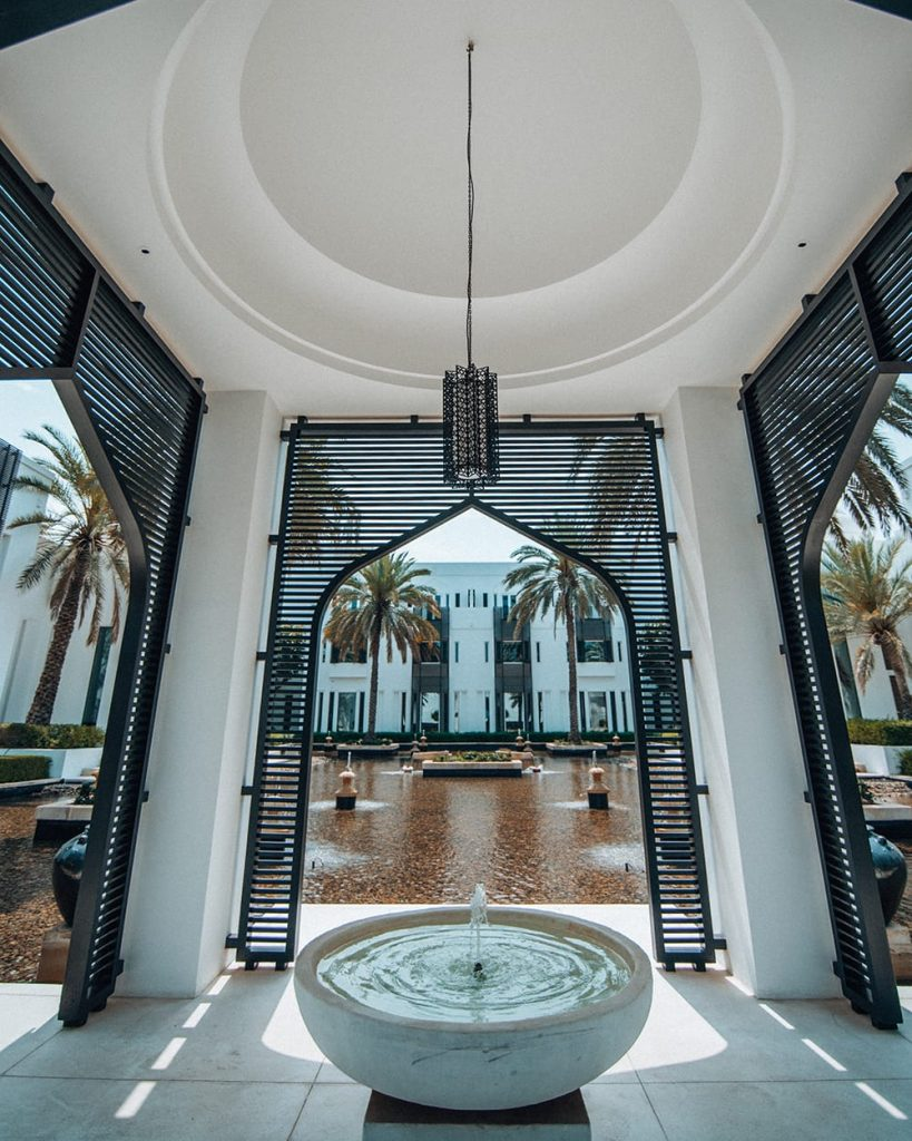 water fountain at the chedi muscat hotel resort