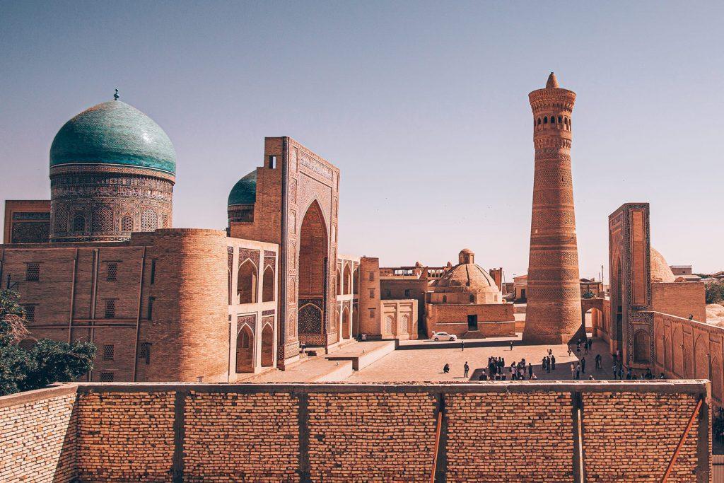 things to do in bukhara uzbekistan kalyan minaret view from chasmai mirob restaurant