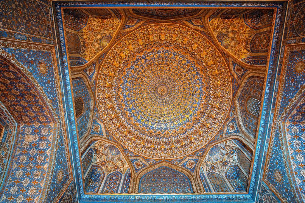 tile work of mosque ceiling in registan square seen on uzbekistan itinerary