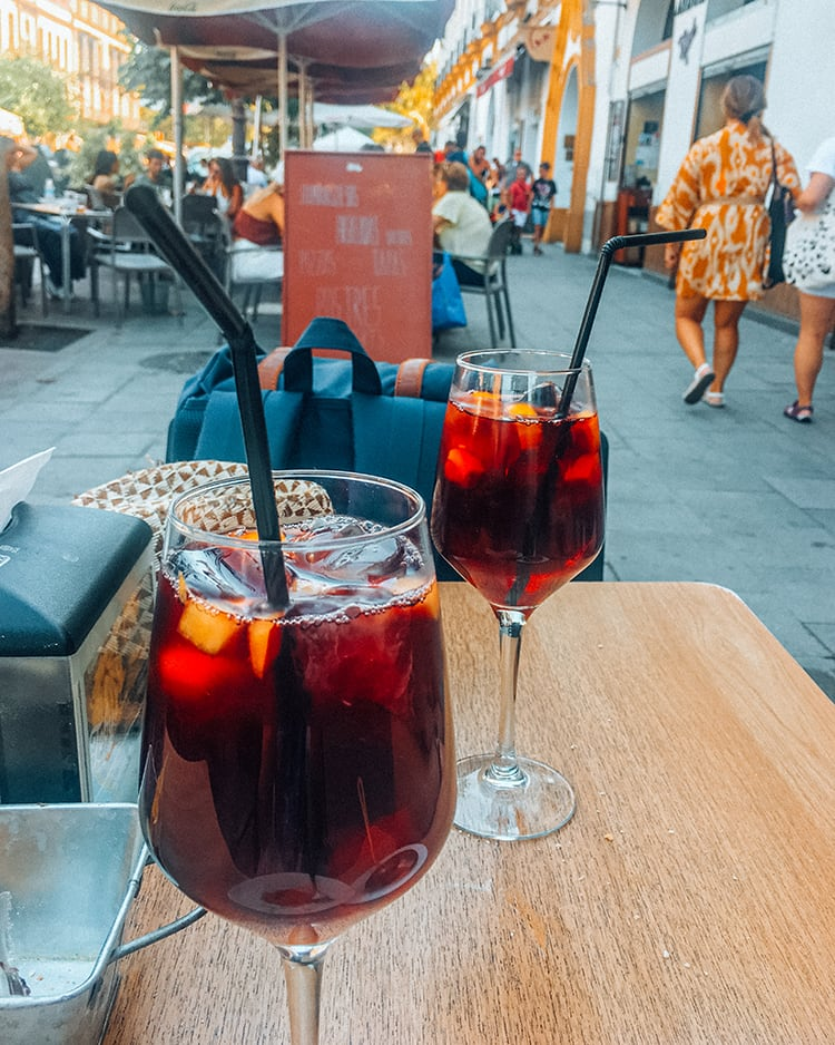 tinto de verano drinks on a table in seville spain