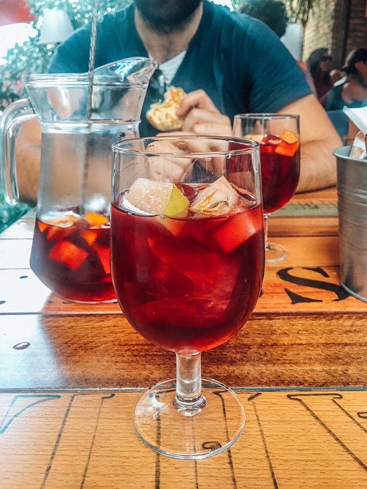 tinto de verano drink on a table in spain