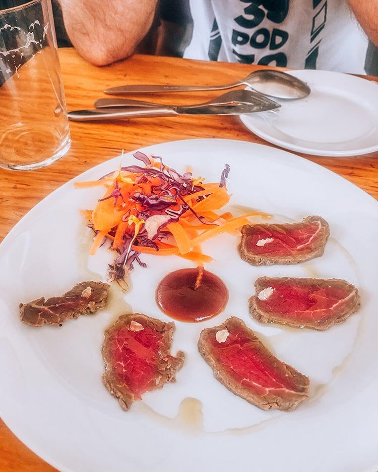 beef tapas in espacio eslava restaurant in seville spain