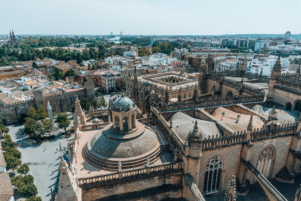 the view of seville from the giralda tower in spain