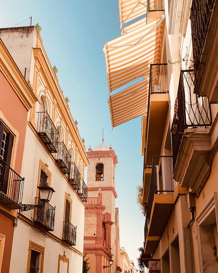 buildings in a colorful neighborhood of seville spain