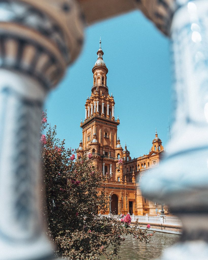 one of the towers of plaza de espana in seville spain