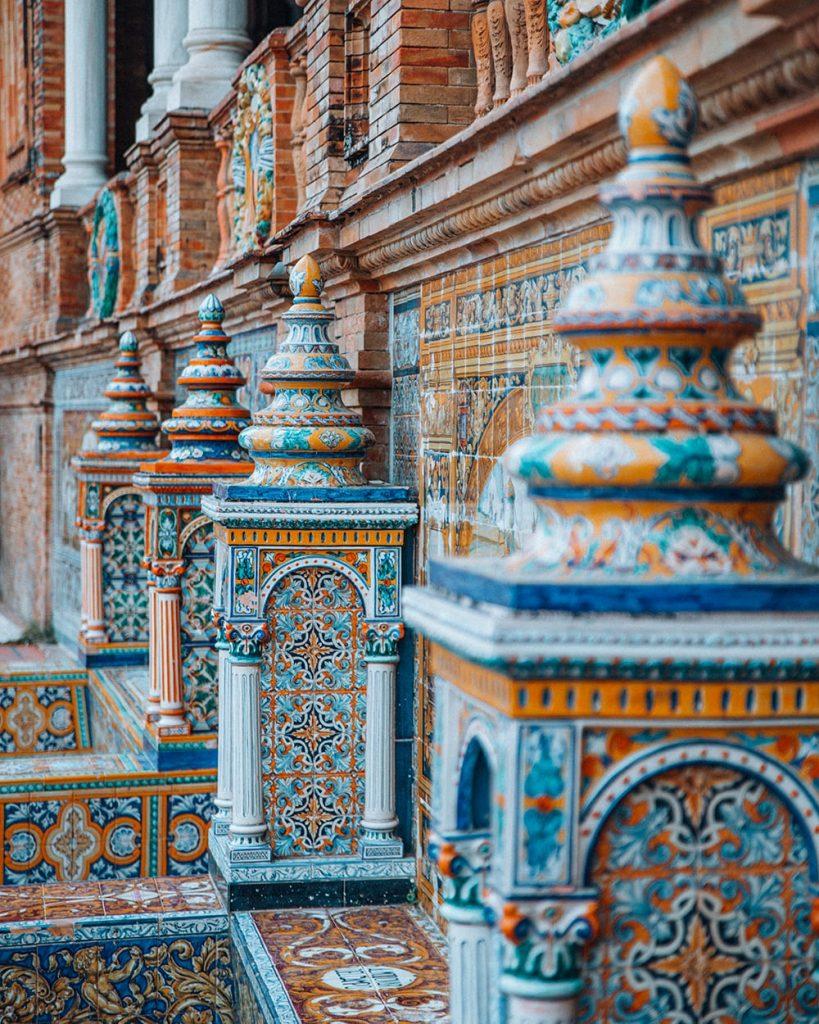 tiled alcoves in plaza de espana in sevilla spain