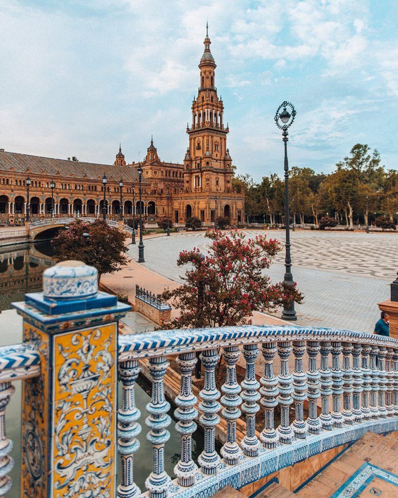 the architecture and tower in plaza de espana in seville spain