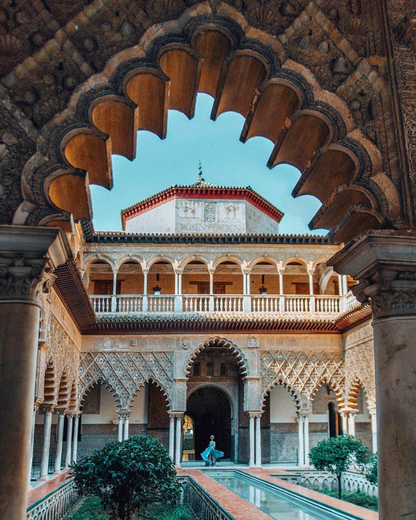 the moorish architecture of royal alcazar of seville spain