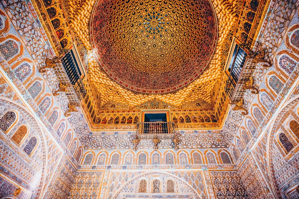a ceiling in royal alcazar palace in seville spain