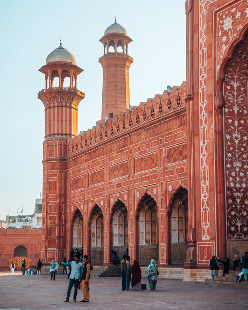 the red tiles of badshahi mosque in lahore pakistan