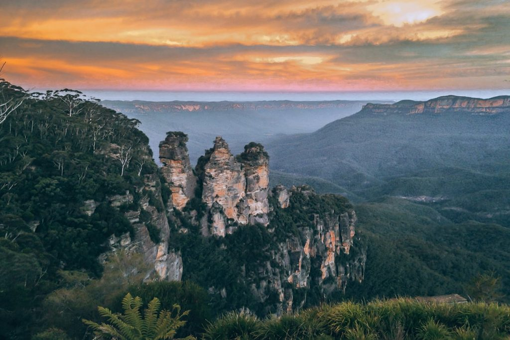 blue mountains during sunset in australia